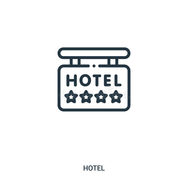 Sign icon vector from hotel collection. Thin line sign outline icon vector illustration. Linear symbol for use on web and mobile apps, logo, print media royalty free illustration