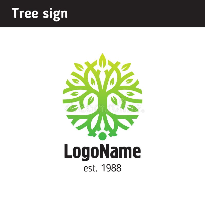 Free Sign In The Form Of A Tree With Roots And Foliage Royalty Free Stock Photography - 109046927