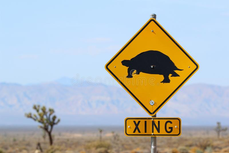 Desert tortoise crossing sign royalty free stock image