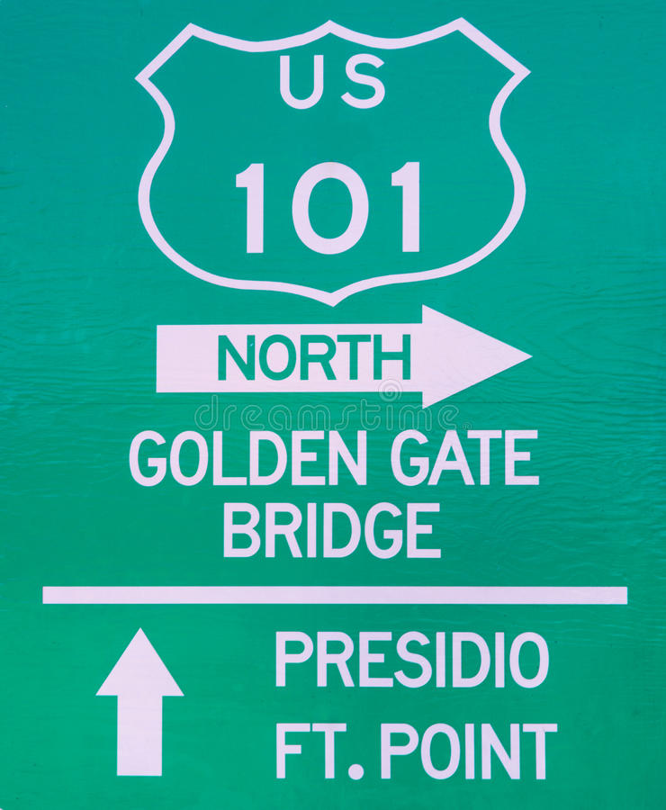 Sign indicating the Golden Gate Bridge stock photos