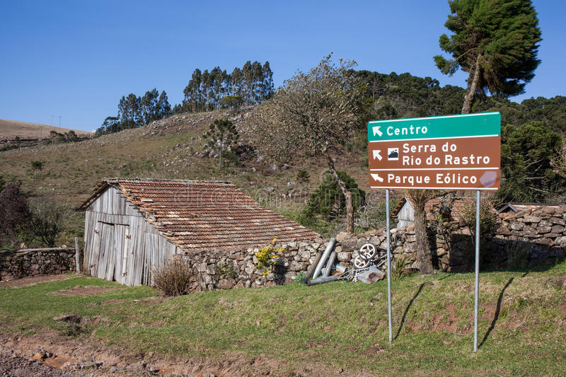 Sign indicating to the Sierra of the Rio do Rastro royalty free stock photography