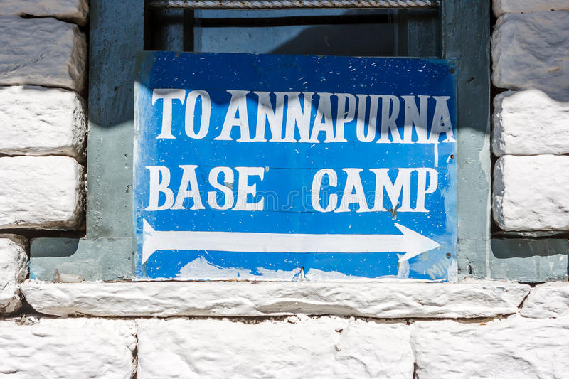 Sign indicating the way for the ABC on the Annapurna Base Camp T royalty free stock image