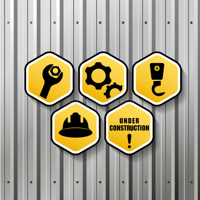 Sign. Industrial sign with factory fence background stock illustration