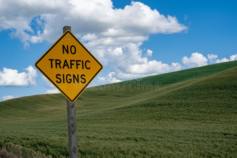 Sign informing drivers of No Traffic Signs on the road ahead stock images