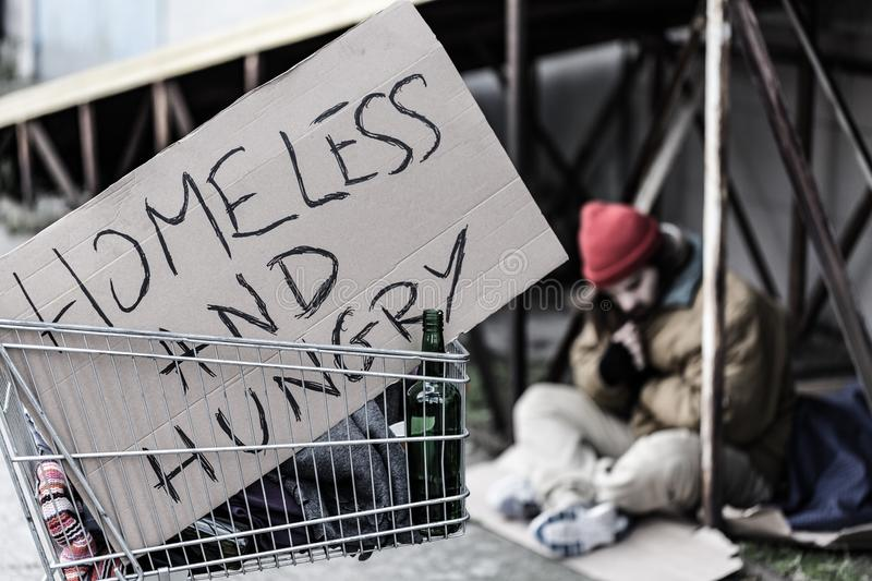 Homeless and hungry sign royalty free stock image