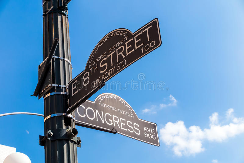 Sign at the intersection of West 8th Street and Congress Avenue. In the Congress Avenue historic district Austin, Texas royalty free stock image