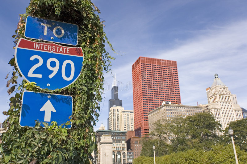 Sign of Interstate 290 stock photos