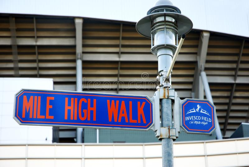 Sign Invesco Field at Mile High in Denver, Colorado royalty free stock image