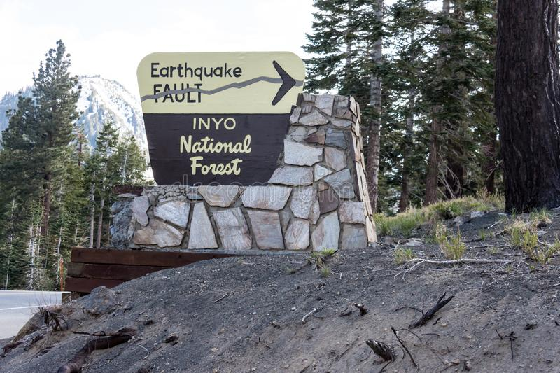Mammoth Lakes, CA : SIgn for the Inyo Earthquake Fault in the Inyo National Forest. Sign for the Inyo Earthquake Fault in the Inyo National Forest royalty free stock photo