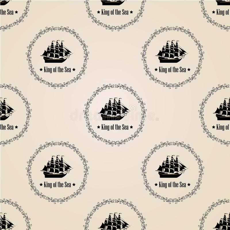 Sign of King of the Sea. Seamless vector pattern. royalty free illustration