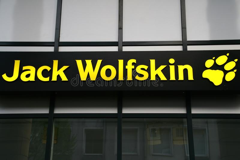 Sign, label of the jack wolfskin Equipment for outdoor GmbH royalty free stock photo
