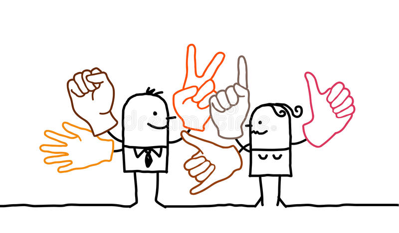 Sign language. Hand drawn cartoon characters - sign language royalty free illustration