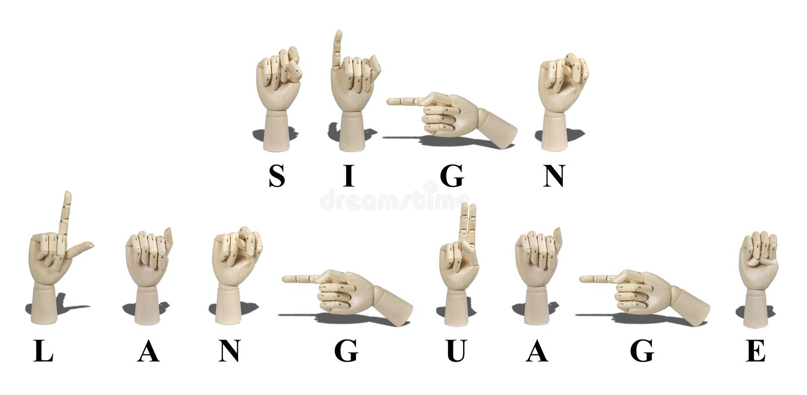 Sign Language in American Sign Language. Sign Language spelled out in American Sign language is expressed with visible hand gestures for communication of the stock image