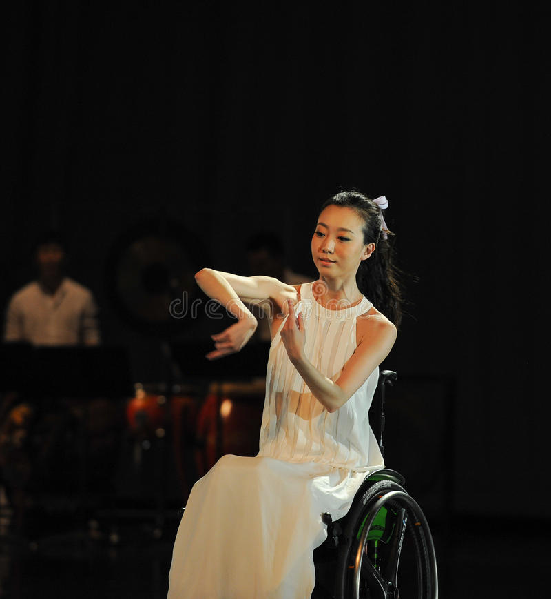 Sign language-Dance musical:Red line. In May 22nd, the French original dance musical red line at the Jiangxi Art Center held. Chinese youth dance actor Liu royalty free stock image