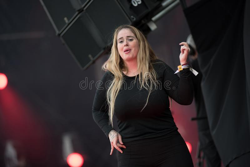 Sign language interpreter at concert. BONTIDA, ROMANIA - JULY 18, 2019: Sign language interpreter translating a song for persons with hearing impediment at stock images