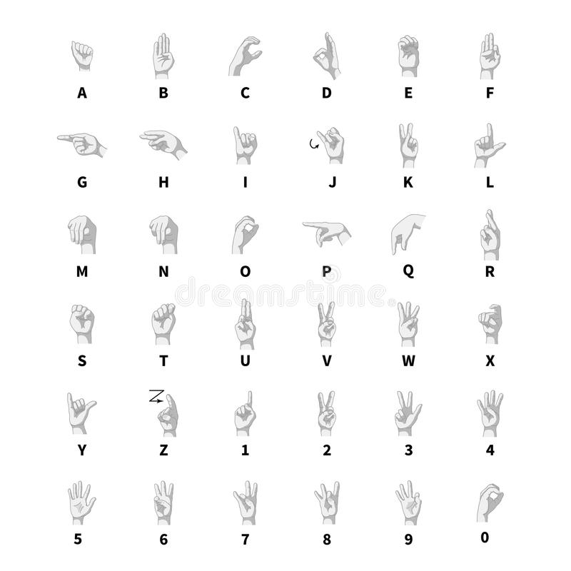 Free Sign Language Interpreter, Latin Alphabet Grayscale Signs On White Stock Photo - 81000540