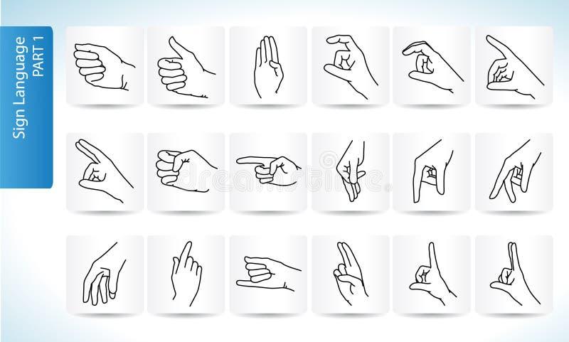 Sign Language Symbols Part 1 Stock Illustration Illustration Of
