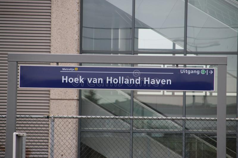 Sign at the light rail station Hoek van Holland where stop is created for the Hoekse Lijn but still not running due to technical i stock images
