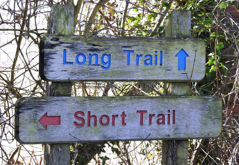 Sign for Long Hiking Trail or Short Hiking Trail stock photography