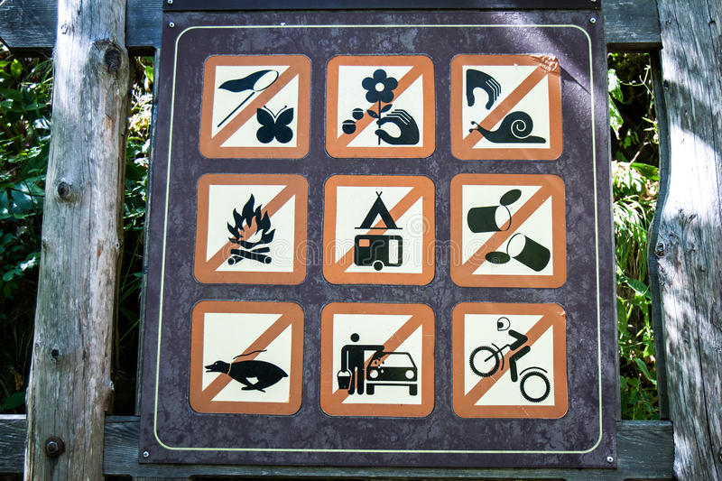 Sign with a lot of bans. stock photography