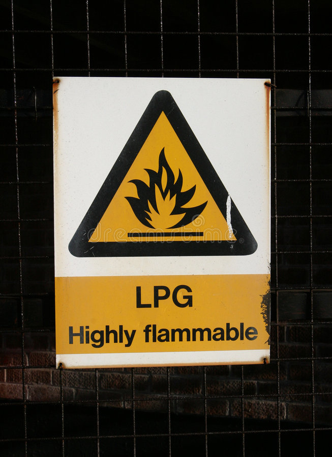 Sign, LPG Highly Inflammable. Warning Sign, LPG Highly Inflammable stock photos