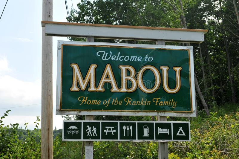 Sign for Mabou in Cape Breton, Nova Scotia royalty free stock photo