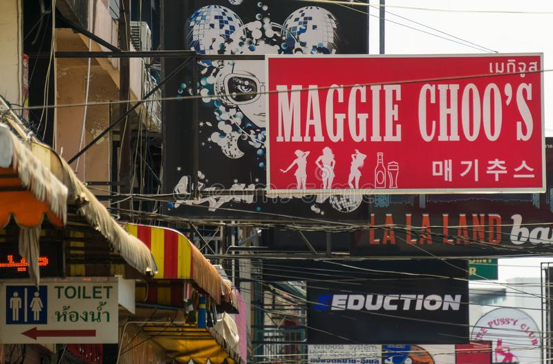 This is the sign of Maggie Choo`s a new bar,which seems to be mainly for guests from China. PATTAYA,THAILAND - APRIL 11,2019:Soi 6 This is the sign of Maggie royalty free stock images