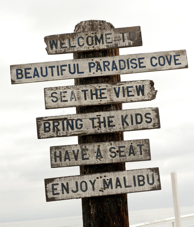 Sign on Malibu beach, Los Angeles, California. USA royalty free stock photography
