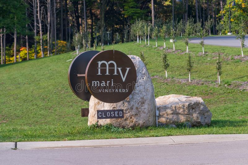 Sign for Mari vineyards on Old Mission Peninsula, Traverse City royalty free stock images