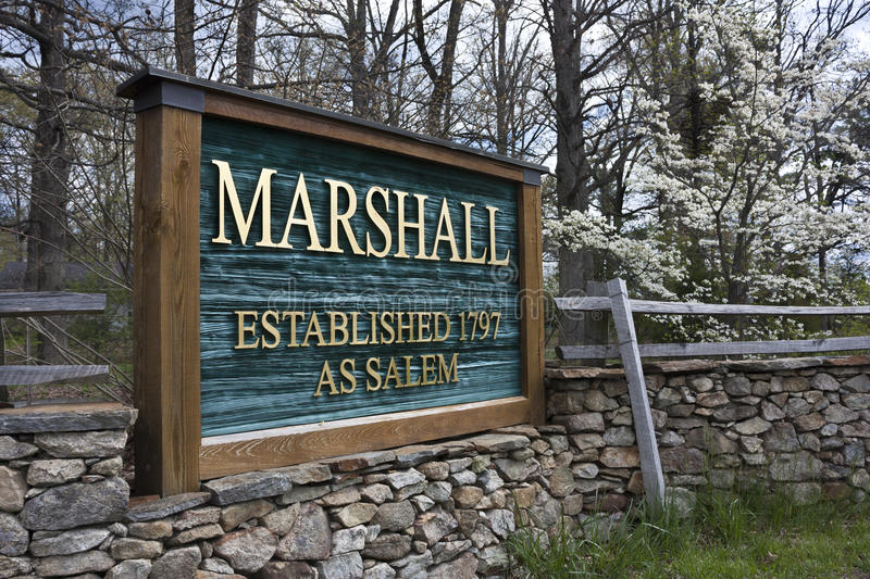 Sign in Marshall, Virginia. Sign at the entrance to Marshall, Virginia. Marshall, Virginia is in Fauquier County Virginia royalty free stock photo