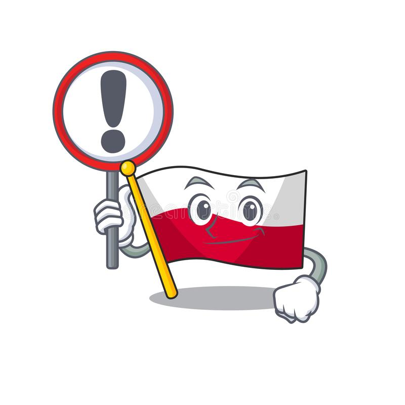 With sign mascot cartoon shaped in poland flag stock illustration