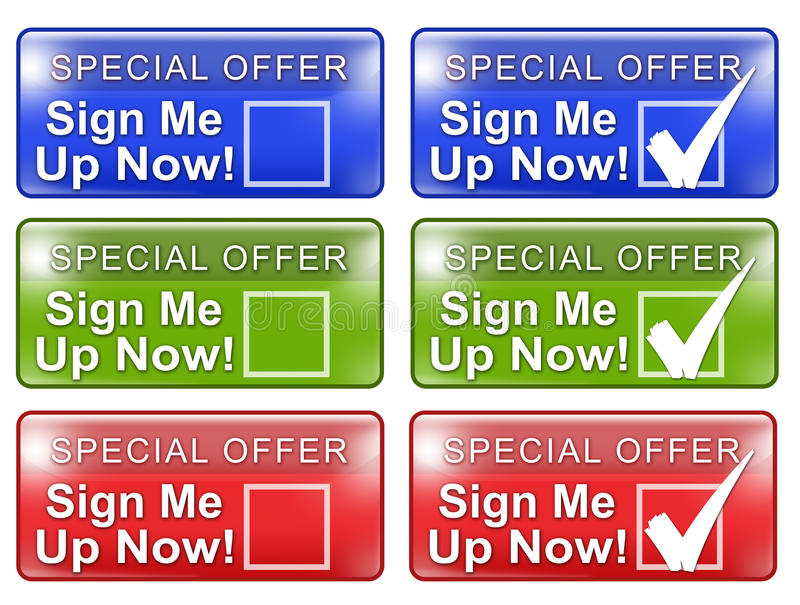 Sign Me Up Web Button w Rollover Graphic vector illustration