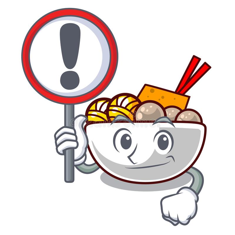 With sign meatball fried on the cartoon plate. Vector illustration stock illustration
