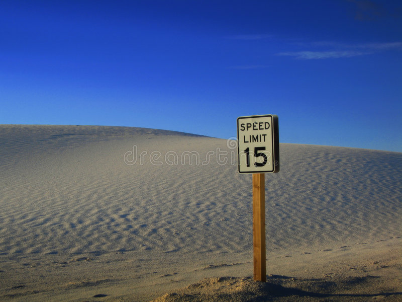 Sign in the middle of the dessert stock photo