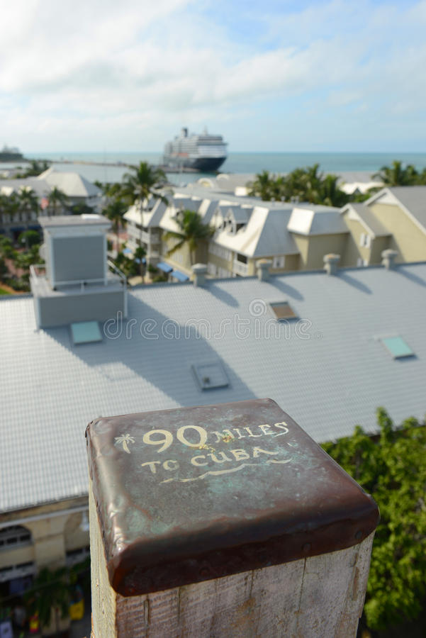 Sign of 90 Miles to Cuba in Key West, Florida. Sign of 90 Miles to Cuba in Kew West at the top of Shipwreck Museum tower, with cruise ship at the background royalty free stock photography
