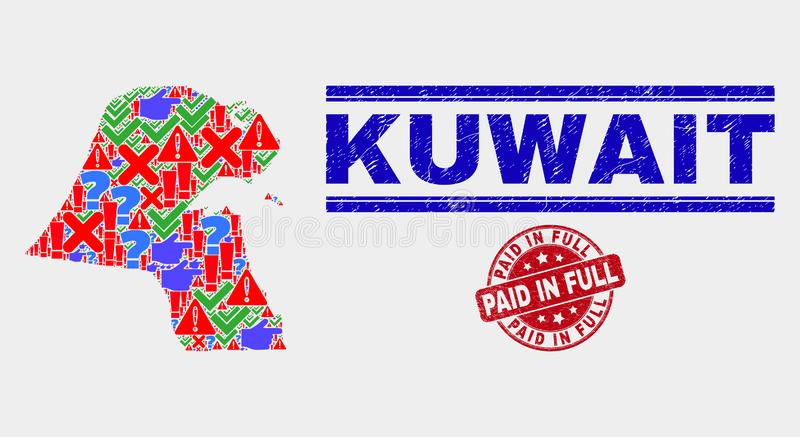 Collage of Kuwait Map Sign Mosaic and Grunge Paid in Full Watermark. Sign Mosaic Kuwait map and seal stamps. Red round Paid in Full grunge seal stamp. Colored royalty free illustration