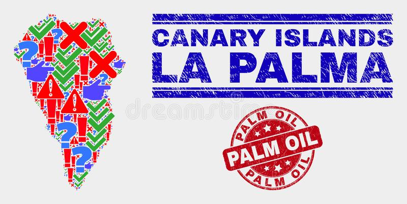 Composition of La Palma Island Map Symbol Mosaic and Distress Palm Oil Stamp Seal vector illustration