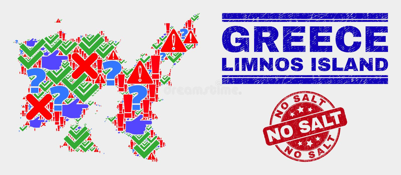 Collage of Limnos Island Map Symbol Mosaic and Grunge No Salt Stamp Seal stock illustration