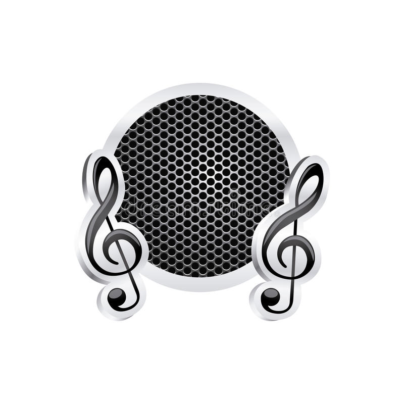 Sign music treble clef icon relief with metallic frame with grill perforated. Illustration stock illustration