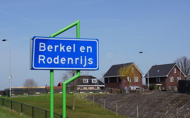 Berkel en Rodenrijs village. Sign with the name of Berkel en Rodenrijs village in the Netherlands stock images