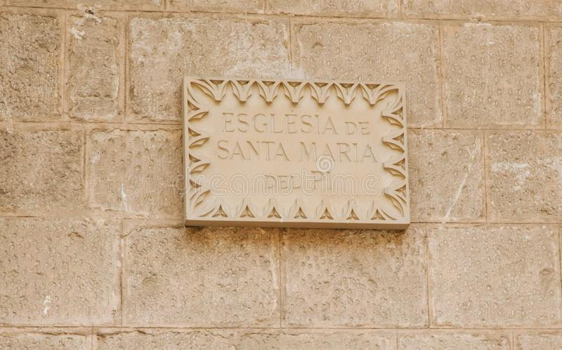 Sign with the name Esglesia Santa Maria del Pi royalty free stock image