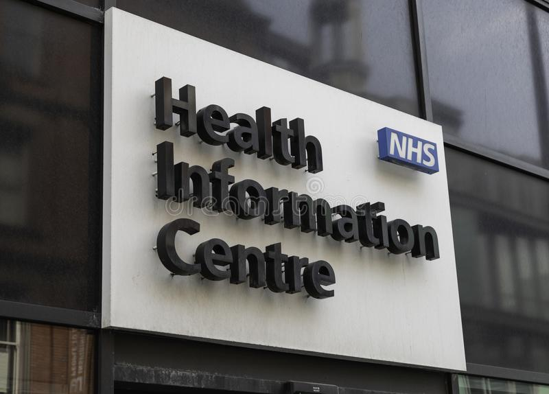 Sign for NHS Health Information Centre stock image