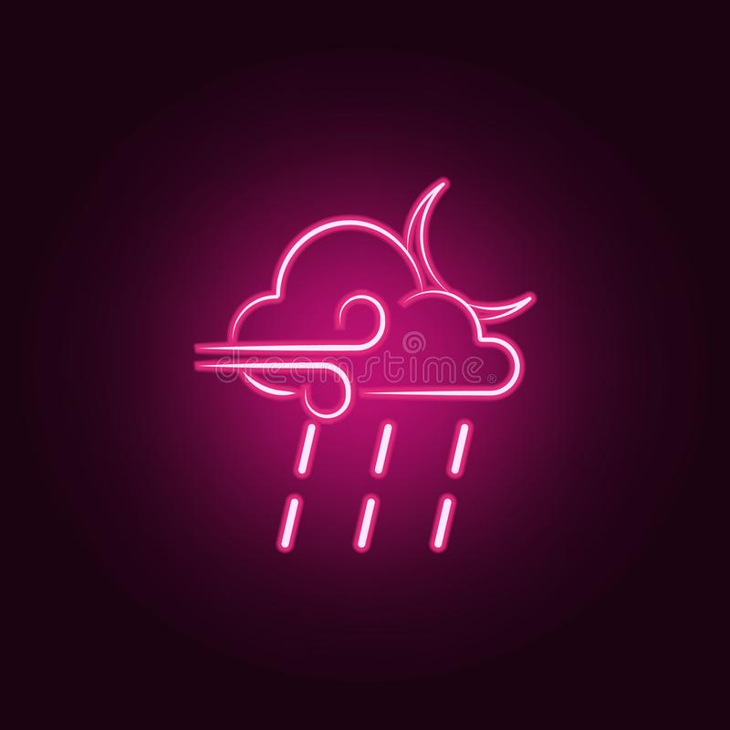 a sign of a night rain with a wind icon. Elements of Weather in neon style icons. Simple icon for websites, web design, mobile app royalty free illustration