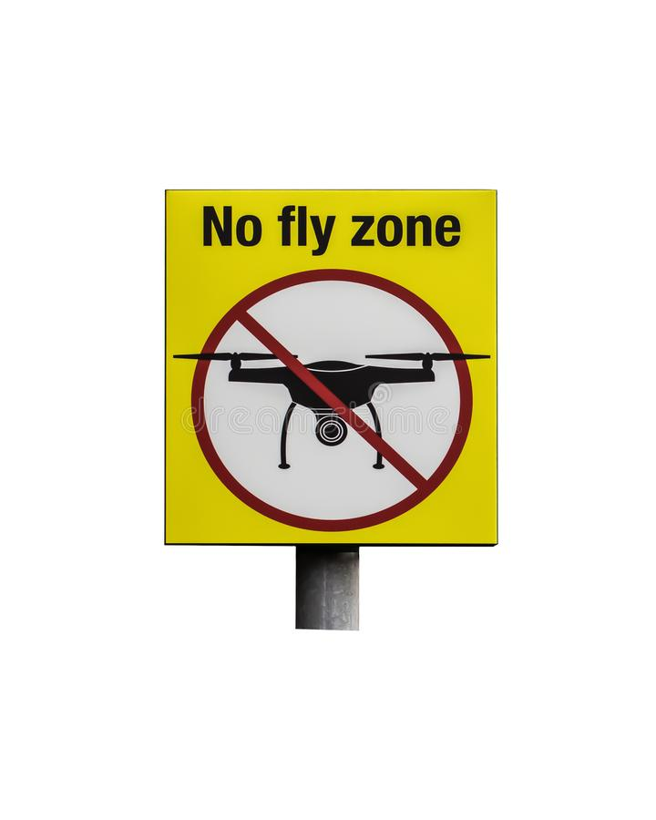 Sign No fly zone prohibiting the flight of drones. Yellow prohibition sign with crossed out silhouette of a flying aircraft drone royalty free stock images