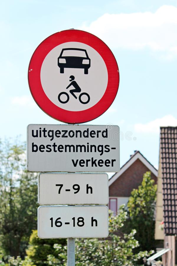 Sign for no trespassing for cars during rush hours in the Netherlands. royalty free stock images