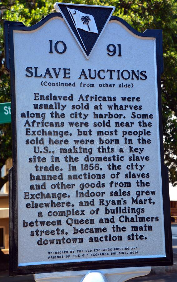 Free Sign Of THE OLD SLAVE MARKET Were Men, Women, Families And Children Were Ripped Stock Image - 172296431