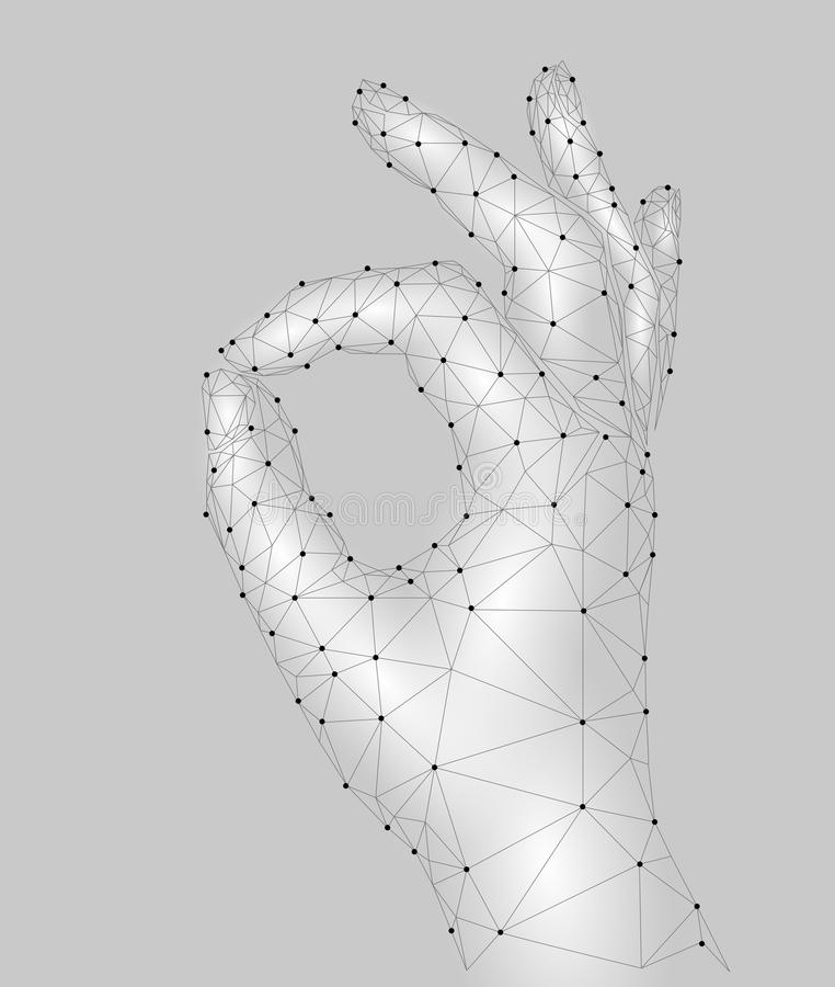 Sign Ok finger signal agreement. 3d low poly model of human hand connected dots point line. White gray color. Pecfect royalty free illustration