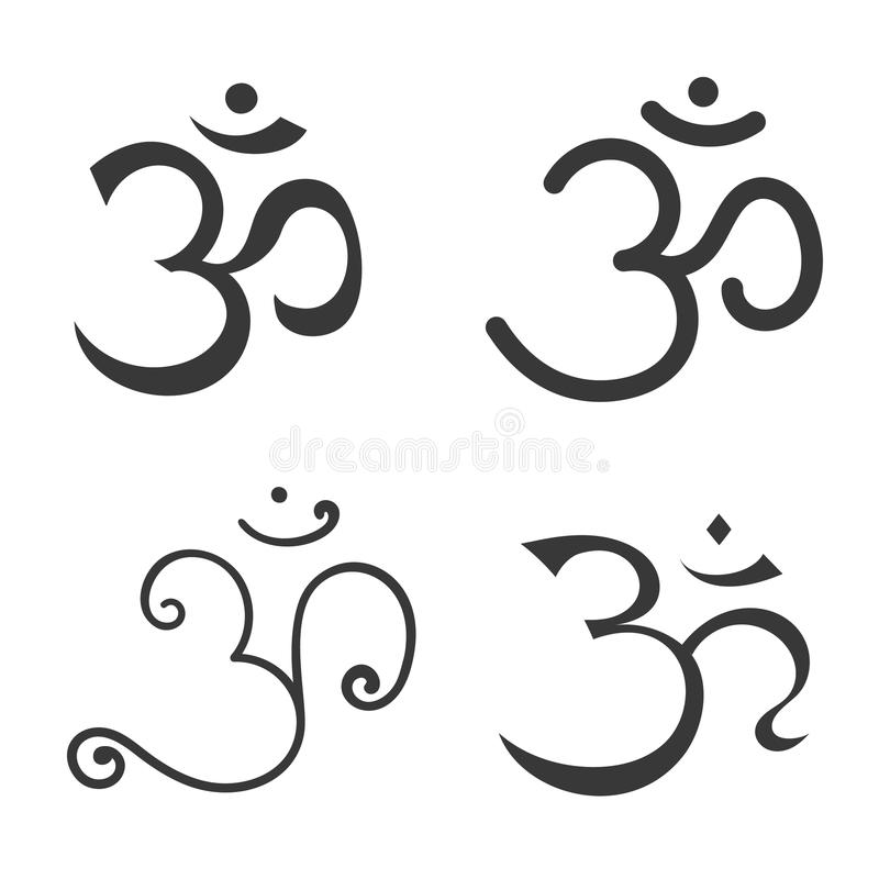 Sign Om. Hand drawn symbol of Buddhism and Hinduism religions. Sign Om vector. Hand drawn symbol of Buddhism and Hinduism religions stock illustration