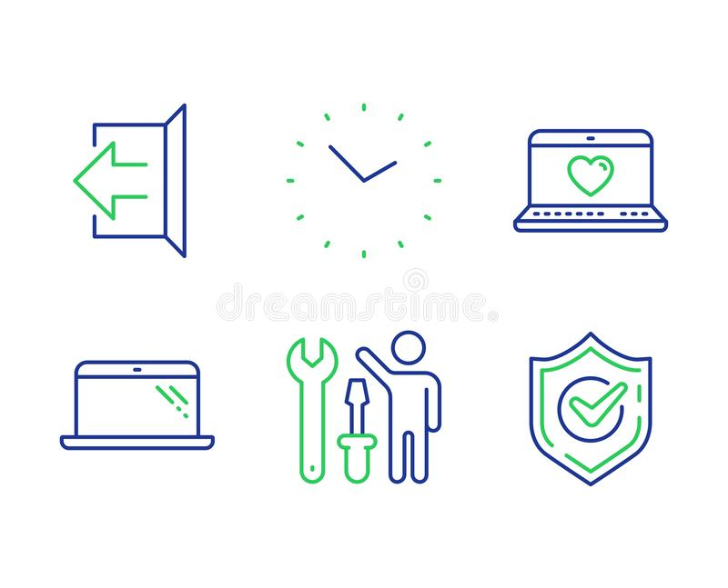 Sign out, Web love and Repairman icons set. Time, Laptop and Confirmed signs. Vector. Sign out, Web love and Repairman line icons set. Time, Laptop and Confirmed vector illustration