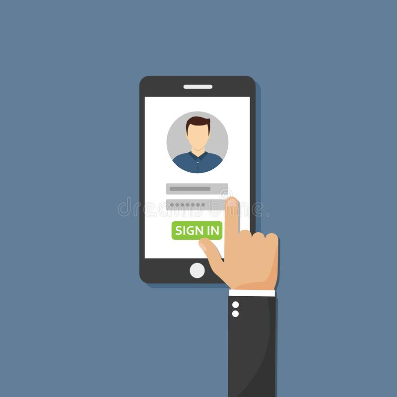 Sign in page on smartphone screen.Male avatar. Vector flat illustration royalty free illustration